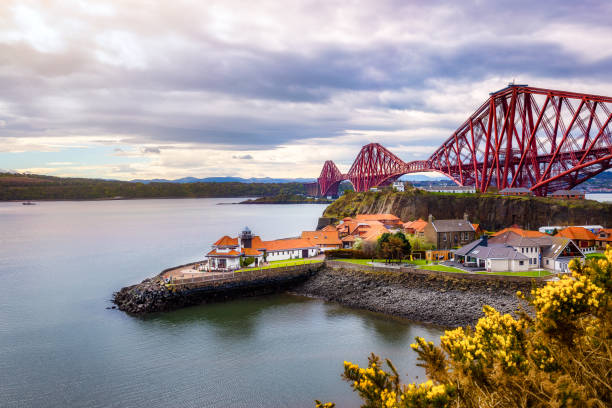 Forth Bridge seen from North Queensferry stock photo