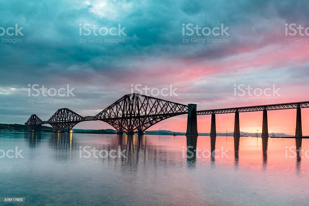 Forth Bridge Sunrise stock photo