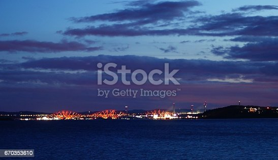 lights from the forth crossing at night