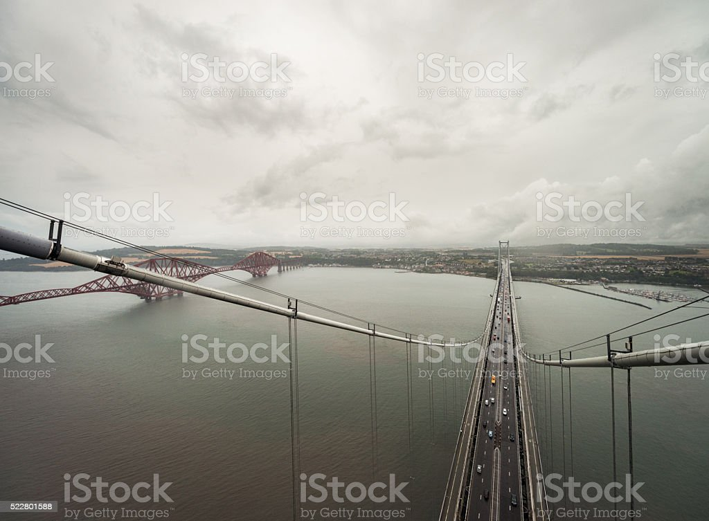 Forth Bridges from top of North Tower of road bridge stock photo