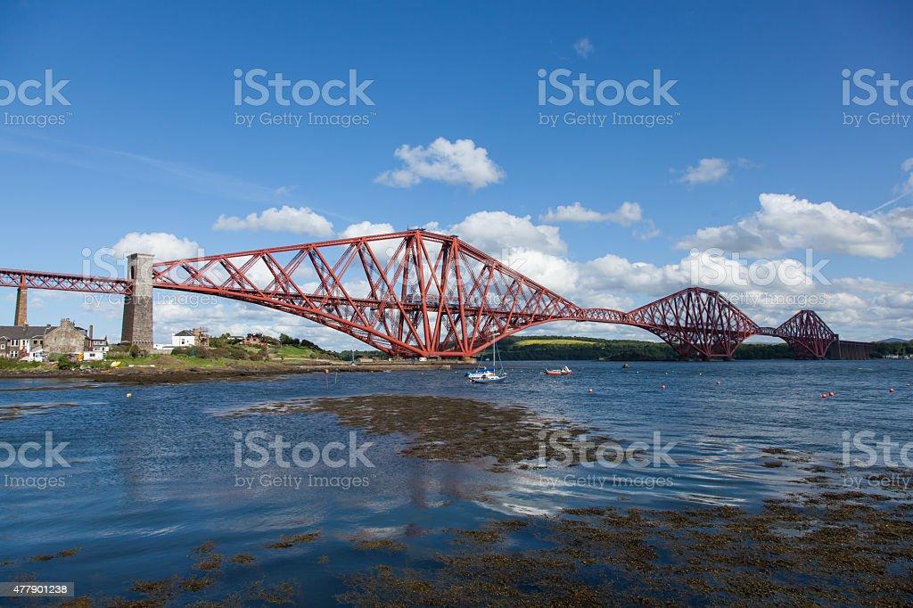 Forth Rail Bridge with a train stock photo