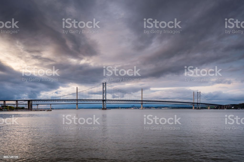 Forth Road Bridge and Queensferry Crossing stock photo