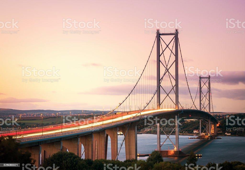 Forth Road Bridge at Dusk stock photo