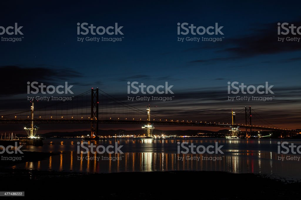 Forth Road Bridge at Night stock photo