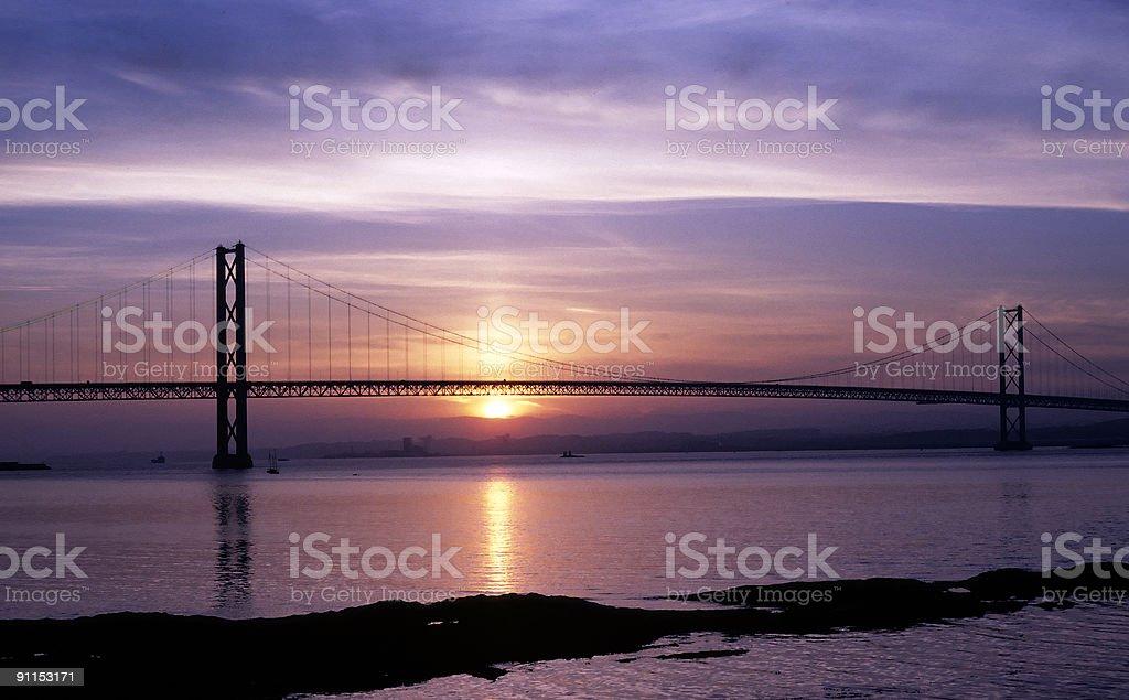 Forth Road Bridge at sunset stock photo