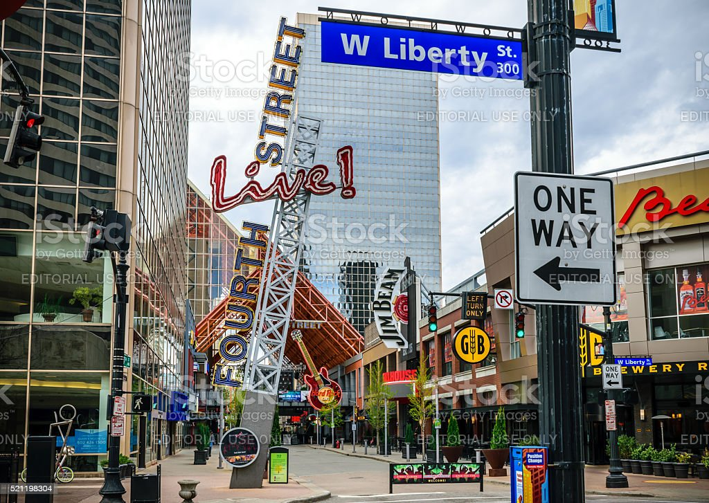 Forth Street Live Louisville, Kentucky Louisville, Kentucky, USA - April 10, 2016: Fourth Street Live, an entertainment and retail complex located in Louisville Kentucky. Alcohol - Drink Stock Photo