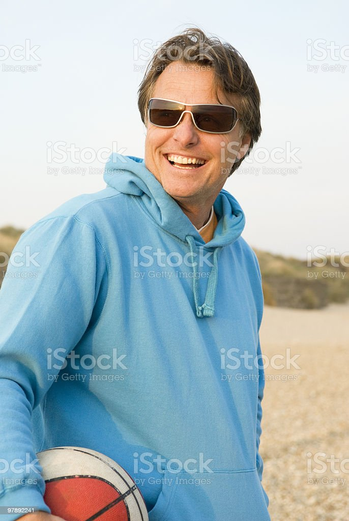 Forties man on beach. royalty-free stock photo