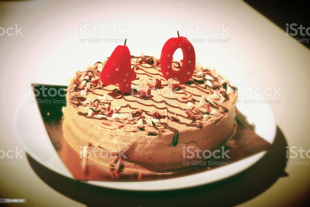 Fortieth birthday cake stock photo