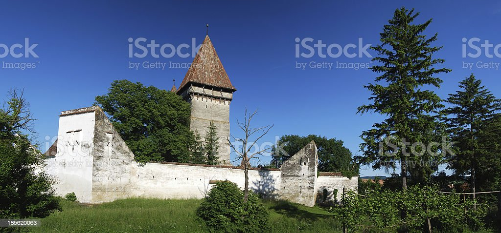 Fortifed medieval church in Transylvania, Romania royalty-free stock photo