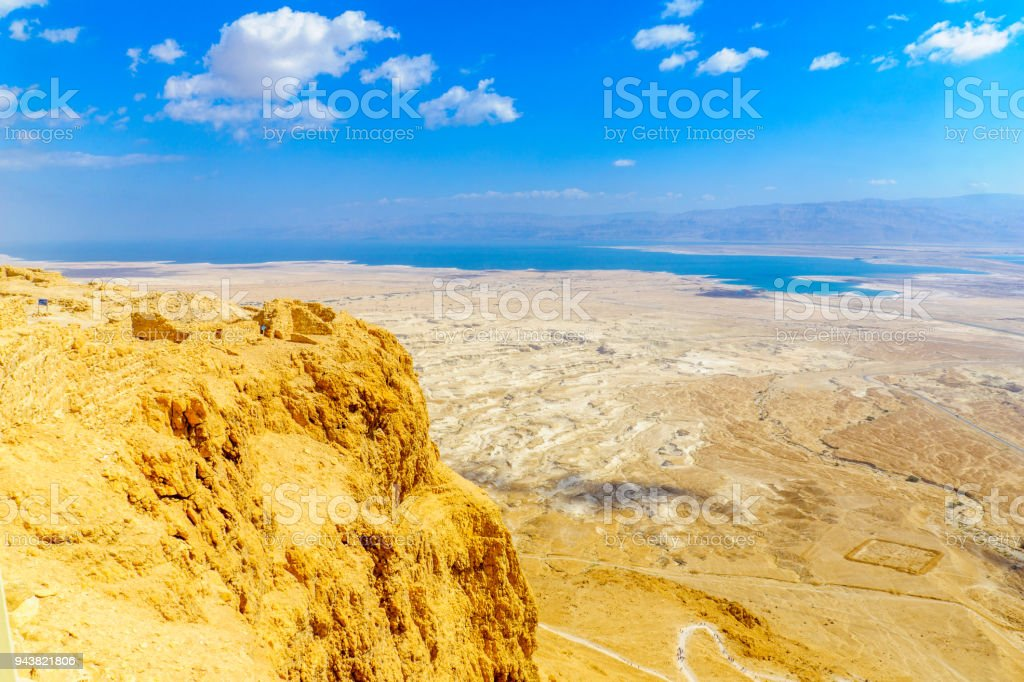 Fortification of Masada and landscape of the Dead Sea stock photo