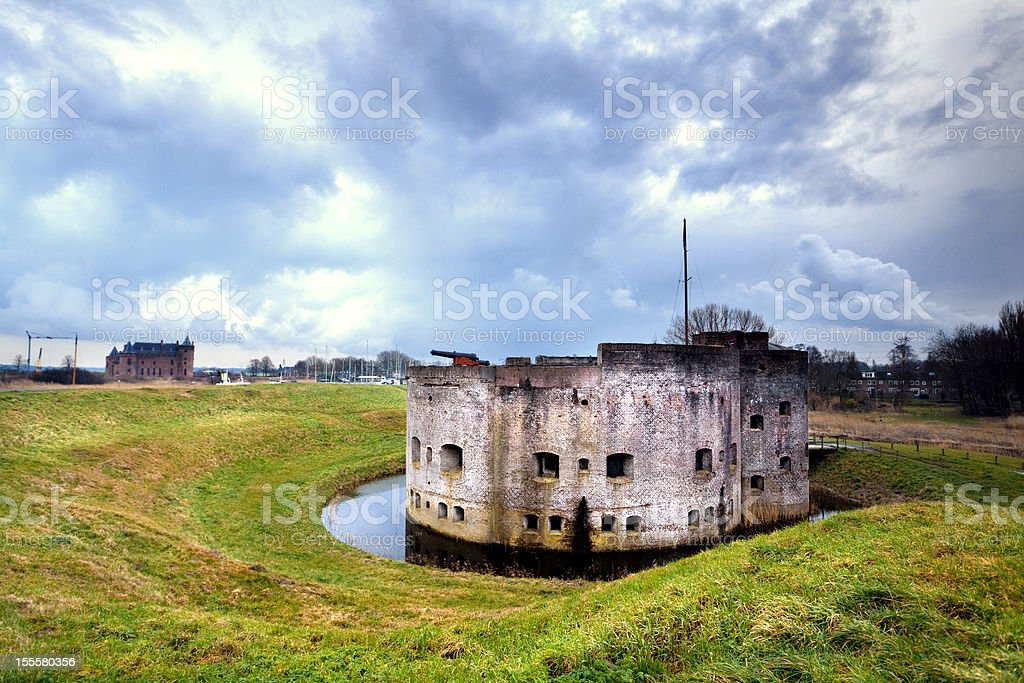 fortification ruins in Muiden stock photo