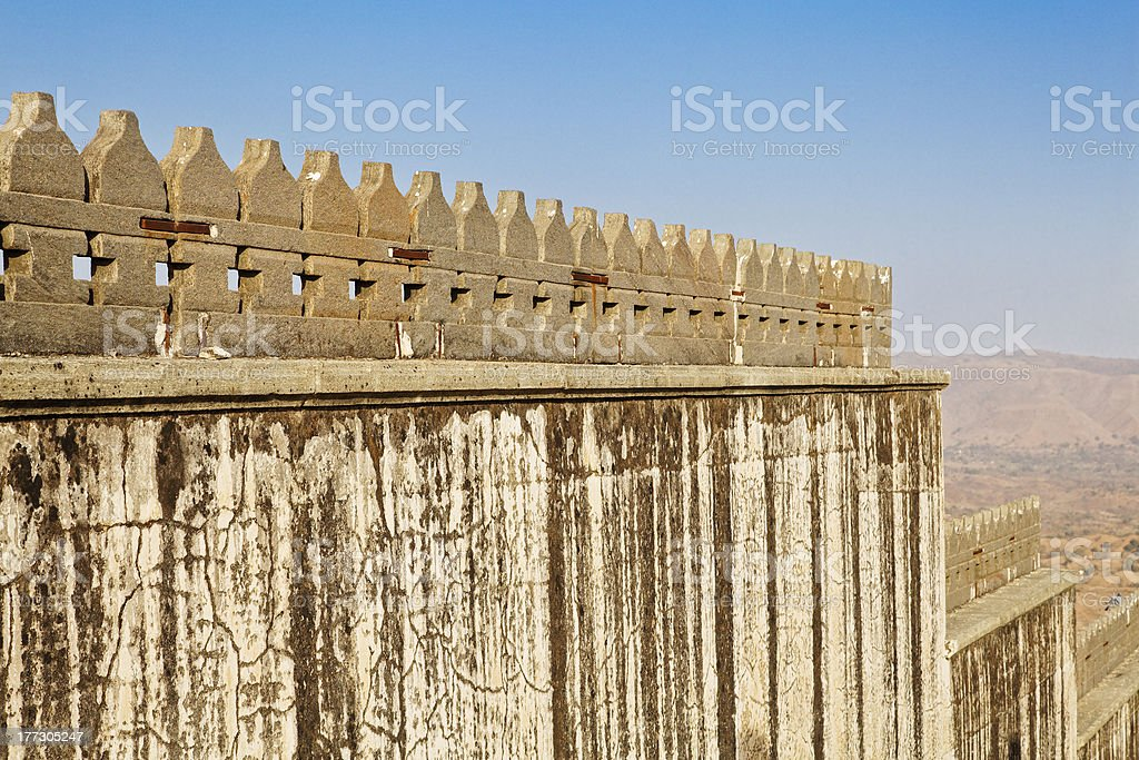 Fortification shapes Kumbhalghar Fort stock photo