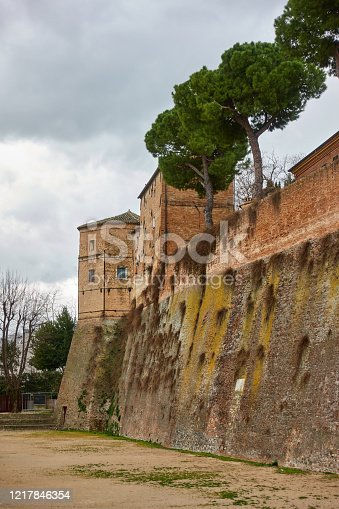 Dry moat and fortification wall in Santarcangelo di Romagna, Rimini province, Italy