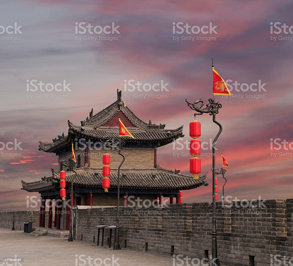 Fortifications of Xian (Sian, Xi'an) an ancient capital China stock photo