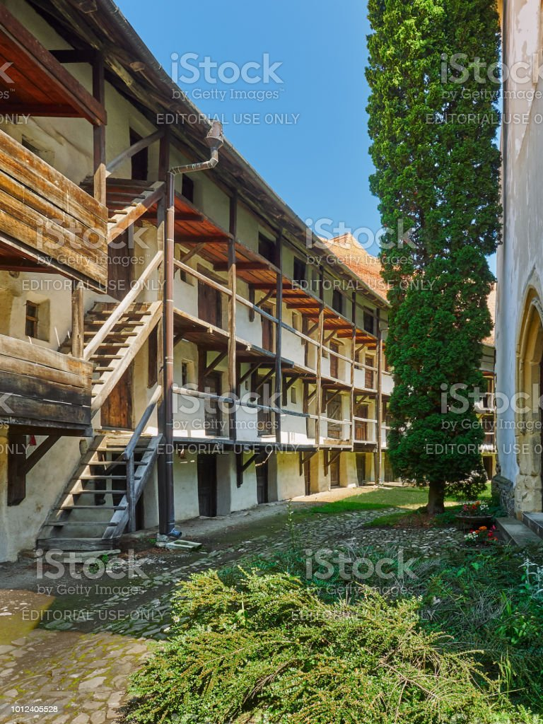 Fortified church in Prejmer, Romania stock photo