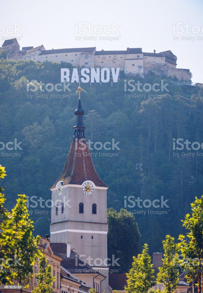 Fortified Church in Rasnov City and medieval Fortress 'Cetate' in Brasov, Transylvania, Romania stock photo