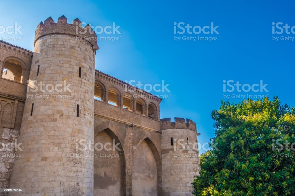Fortified Islamic palace, Zaragoza (Saragossa) the capital city of the Zaragoza province and of the autonomous community of Aragon, Spain. It lies by the Ebro river and its tributaries, the Huerva and the Gállego, roughly in stock photo