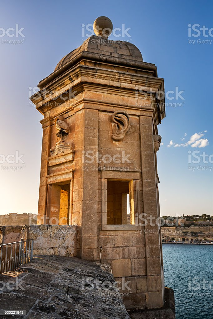 Fortified Tower in Gardjola Gardens, Malta stock photo