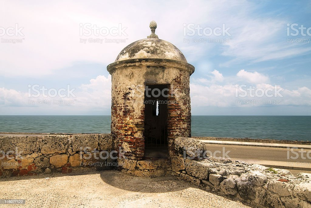 Fortified Wall at Cartagena royalty-free stock photo
