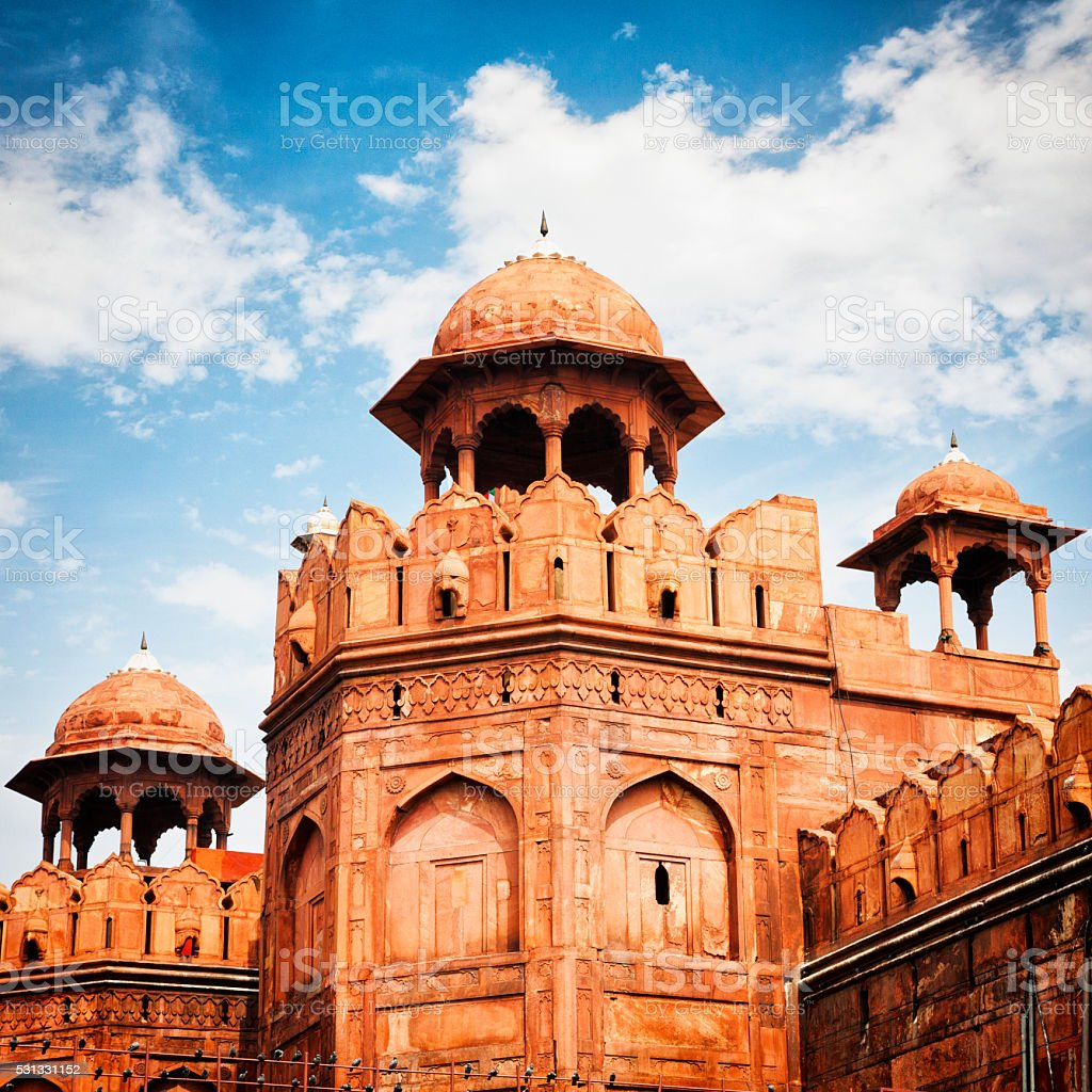 Fortified Wall at the Red Fort in Delhi, India stock photo