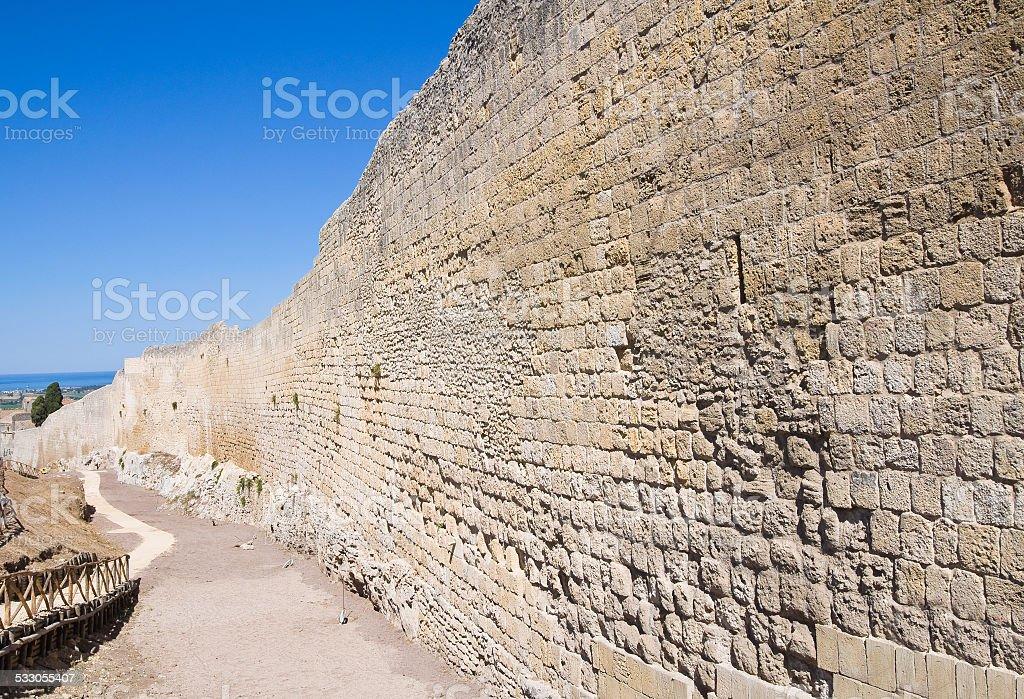 Fortified walls. Tarquinia. Lazio. Italy. stock photo