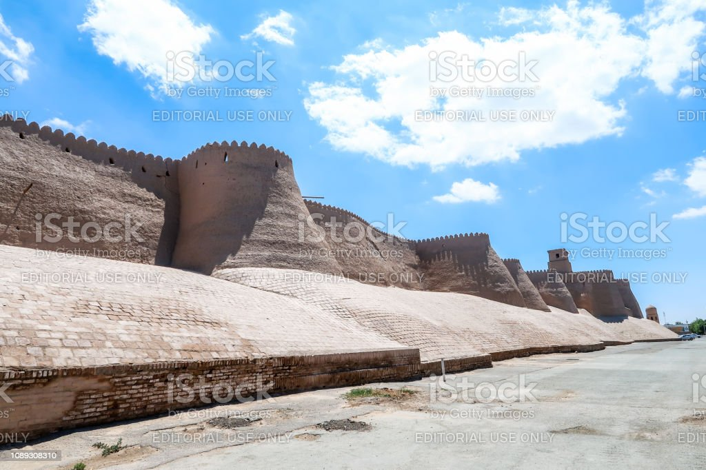 Fortress City Walls of the Ancient City of Khiva, Khorezm Region,...