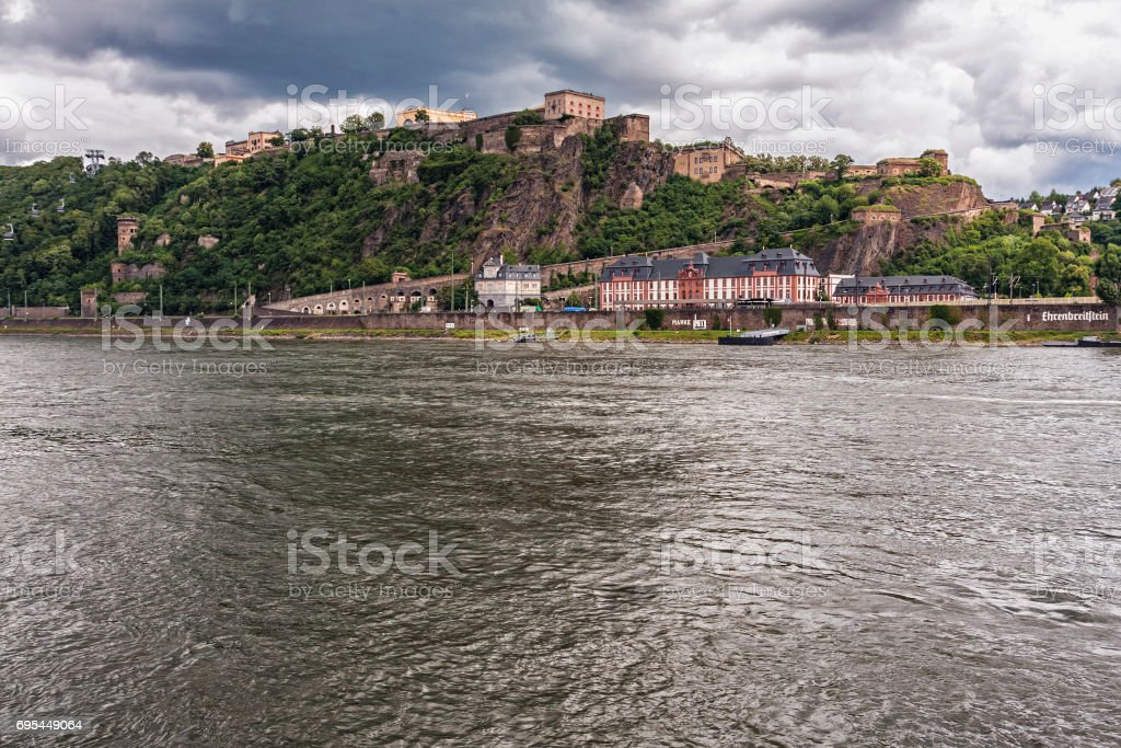 COBLENZ/GERMANY - JUNE 23,2012: Fortress Ehrenbreitstein on cloudy day stock photo