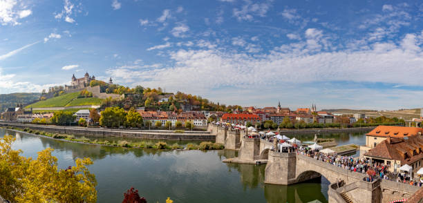 fortress Marienberg and old historic bridge crossing river Main in Wuerzburg, Germany stock photo