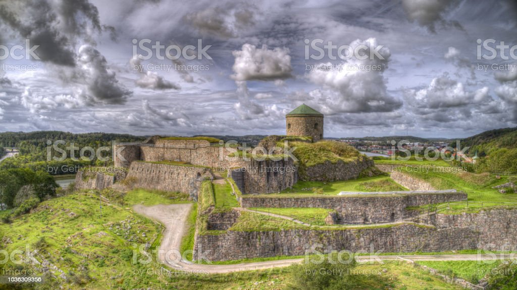Fortress named 'Bohus fästning' near the cities Gothenburg and Kungälv in Sweden. stock photo