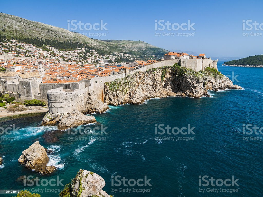 Fortress of Dubrovnic on the Adriatic stock photo