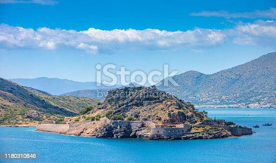 View of the fortress of Spinalonga., Crete, Greece.