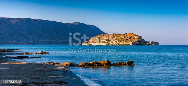View of the fortress of Spinalonga, Crete, Greece.
