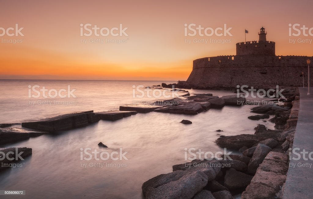 Fortress of St. Nicholas at dawn. Rhodes Island. Greece stock photo