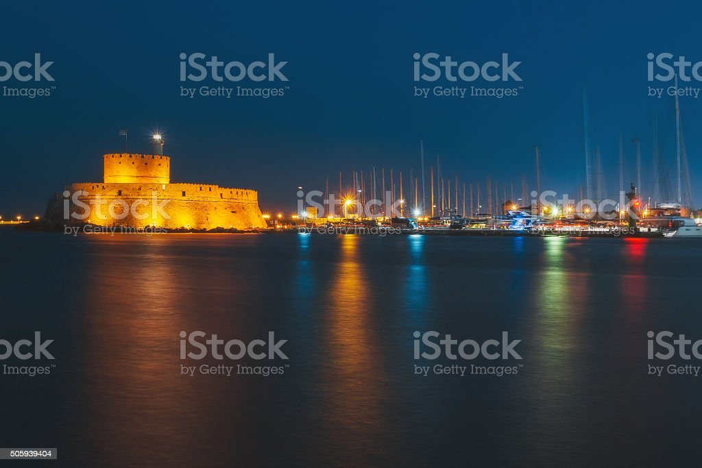Fortress of St. Nicholas in the evening. Rhodes. Greece stock photo