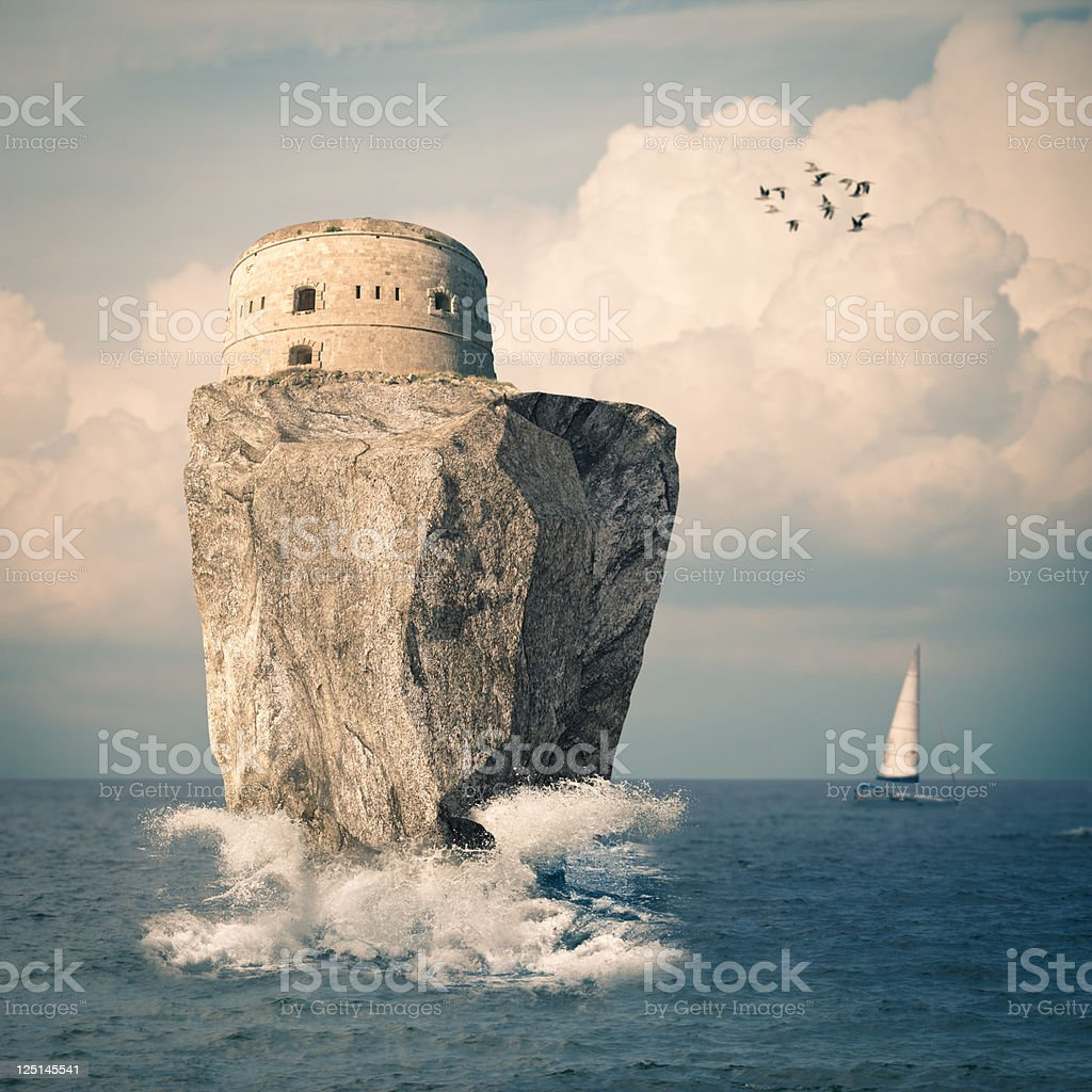 Fortress on the sea stock photo