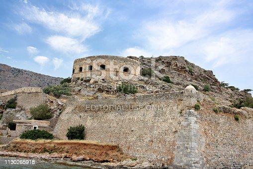 Crete, Greece - May 13. 2010: Fortress on the Spinalonga Island, Crete, Greece