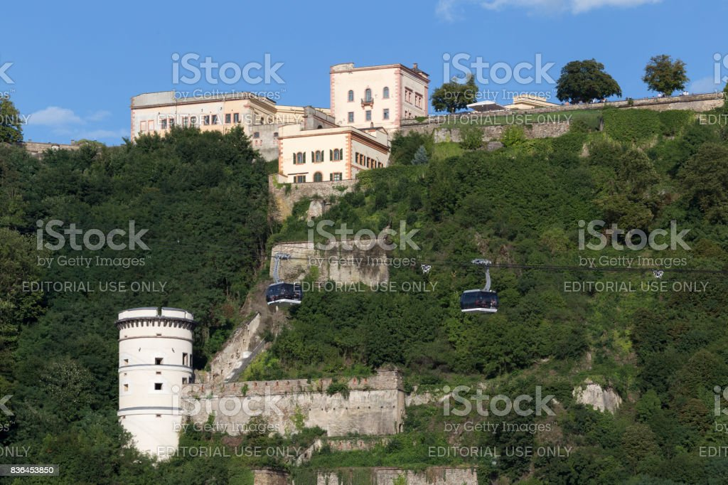 Fortress, trees and aerial lift Koblenz cable cars stock photo