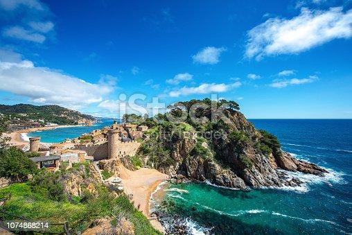 Fortress Vila Vella and Badia de Tossa bay at summer in Tossa de Mar on Costa Brava, Catalunya, Spain, Catalunya, Spain