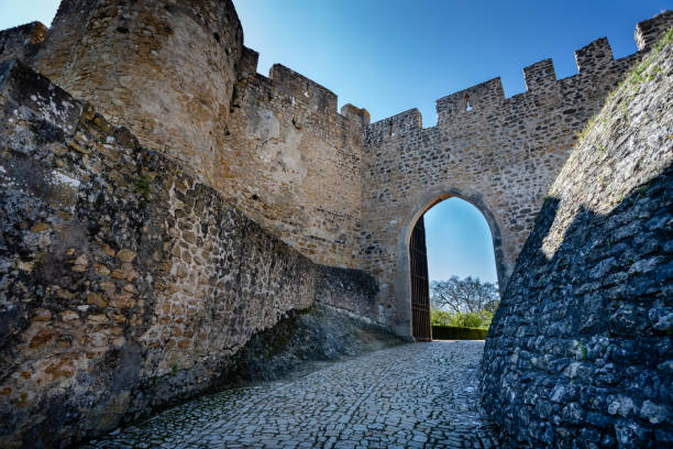fortress wall of convent of christ or convent of tomar. tomar, portugal - knights templar stock pictures, royalty-free photos & images