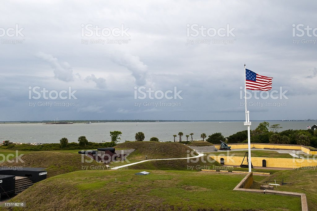 Forts Moultrie and Sumter with 1809 American flag stock photo