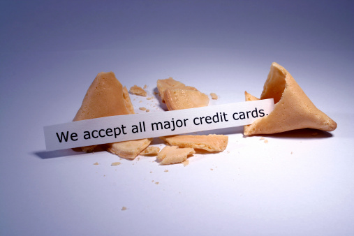 Fortune cookie with credit card notice