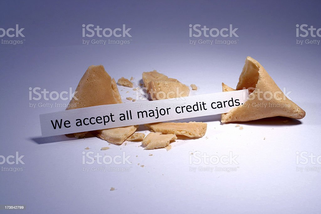 Fortune Cookie: Credit Cards stock photo
