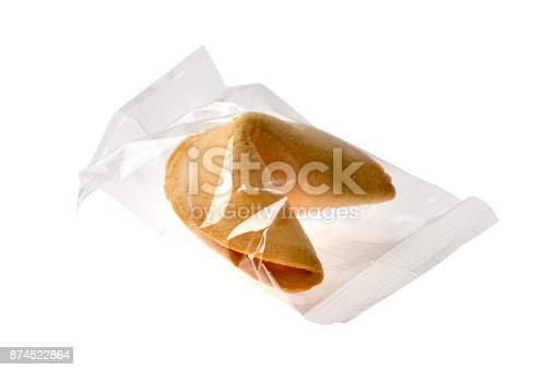 istock Fortune cookie in transparent sachet isolated on white background 874522864