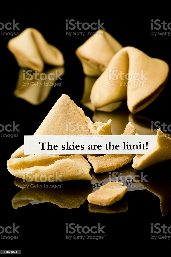 Fortune cookie: 'skies are the limit' royalty-free stock photo