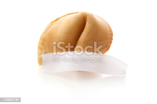 A blank fortune from an opened fortune cookie