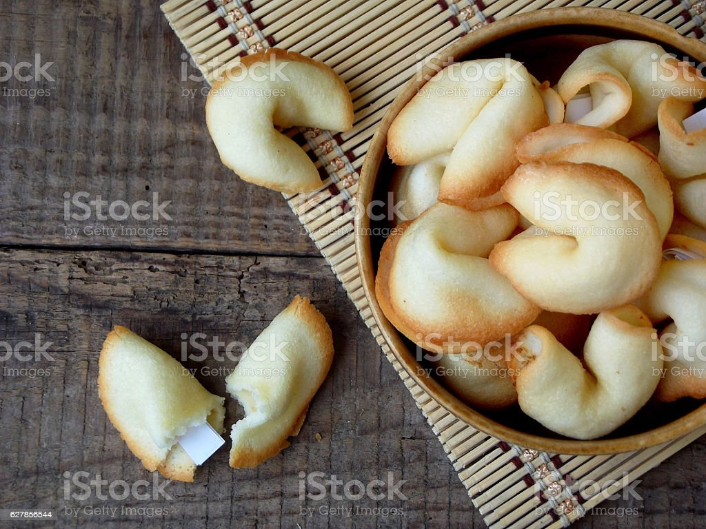 fortune cookies in bowl stock photo