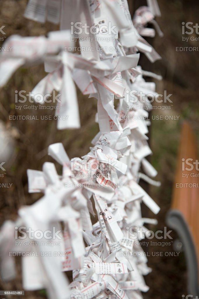 Fortune Slips Tied (Omikuji) at Usagi Shrine, Kawaguchiko stock photo