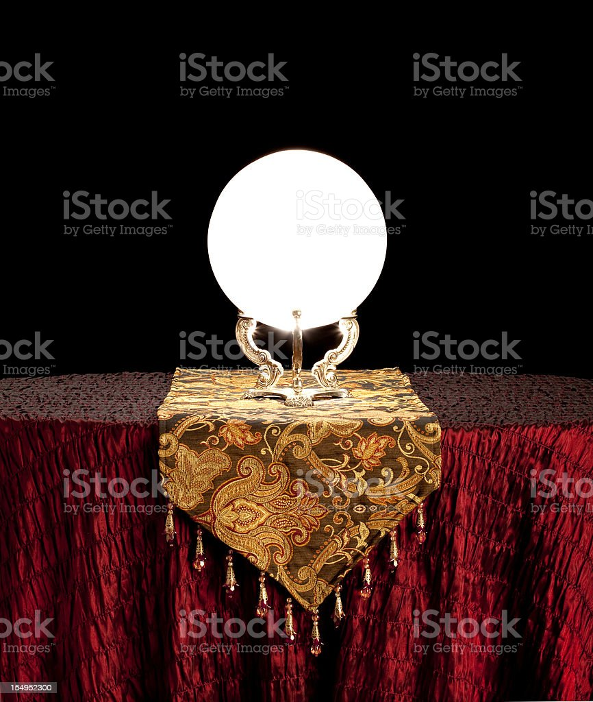 Fortune Teller's Mystical Crystal Ball, black background. XL royalty-free stock photo