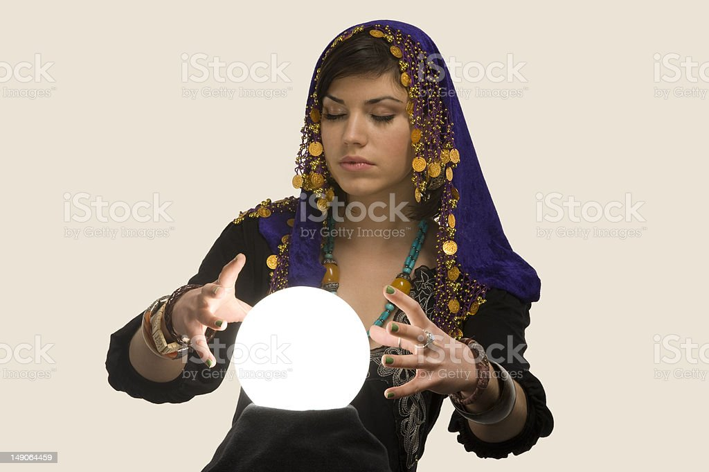 Fortune-teller with Crystal Ball royalty-free stock photo
