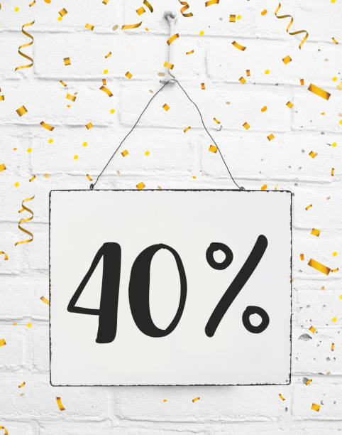 Forty 40 % percent off big mega sale 40% discount sign with golden party confetti stock photo